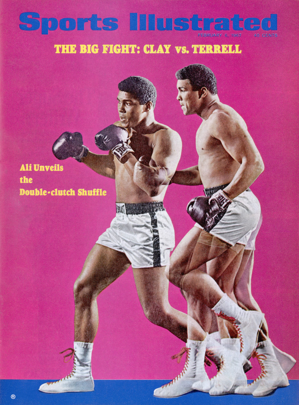 February 6, 1967 Sports Illustrated Cover: Heavyweight Boxing: Multiple exposure portrait of Muhammad Ali demonstrating Ali Double-Clutch Shuffle during photo shoot at Life Studios. New York, NY 12/30/1966 CREDIT: Neil Leifer (Photo by Neil Leifer /Sports Illustrated/Getty Images) (Set Number: X12118 )