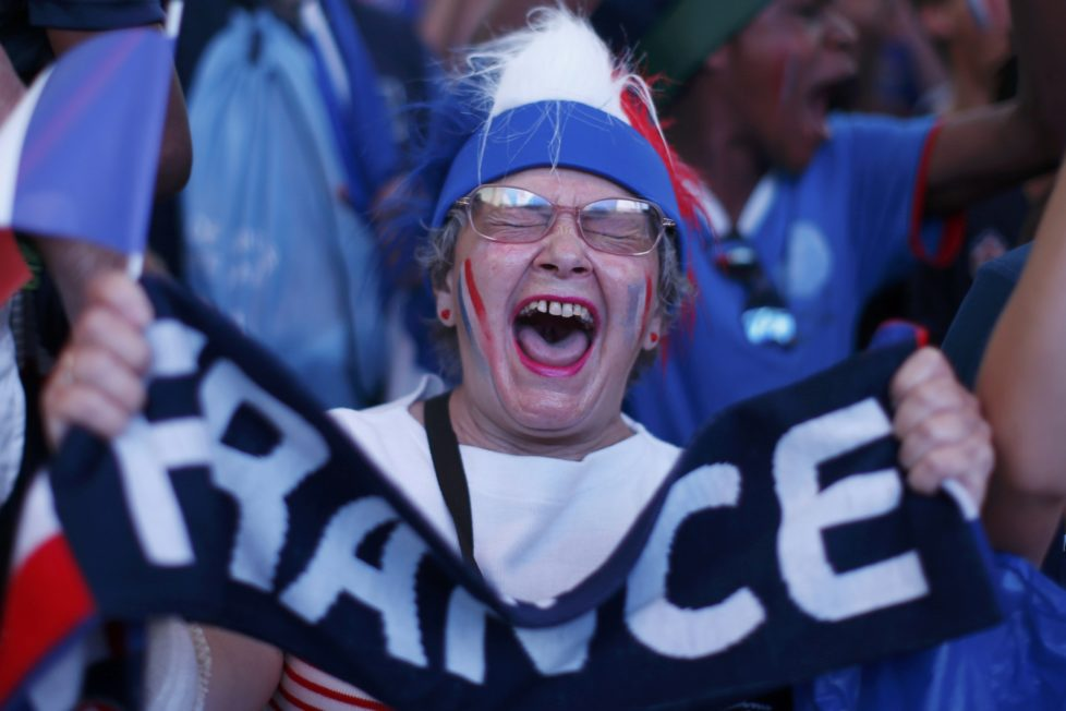 A France fan reacts after a goal is scored in the fan zone during the France v Iceland EURO 2016 quarter final soccer match in the fan zone in Nice, France, July 3, 2016. REUTERS/Eric Gaillard TPX IMAGES OF THE DAY
