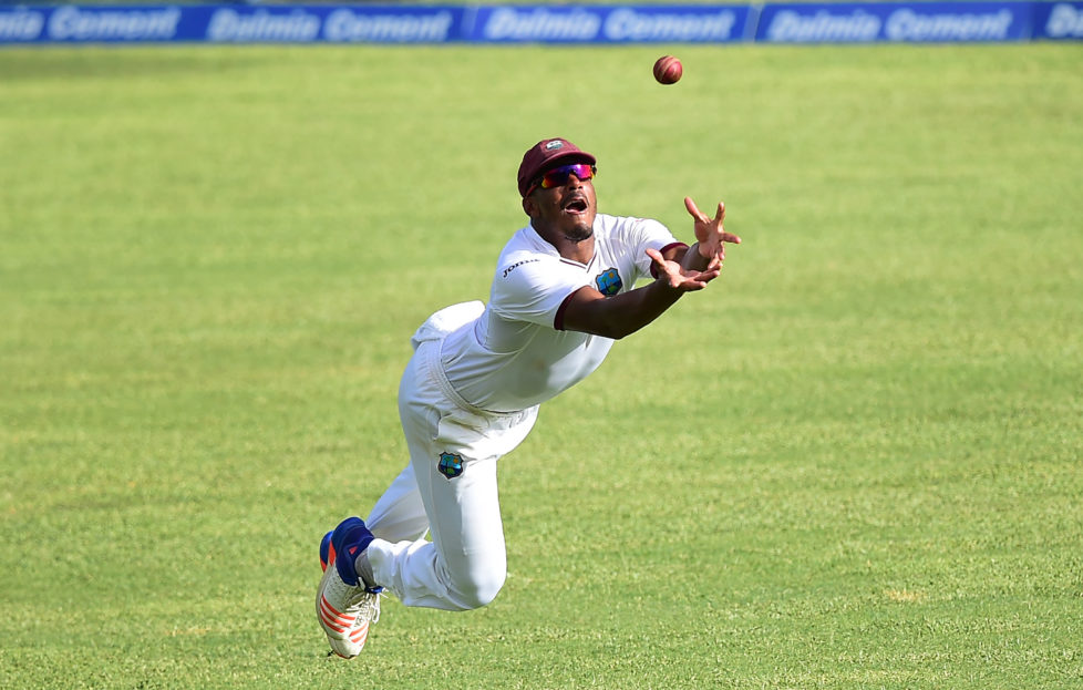 Shannon Gabriel of the West Indies misses cathcing out India's Ajinkya Rahane shot off bowler Roston Chase on July 31, 2016 at Sabina Park in Kingston, Jamaica. / AFP PHOTO / Frederic J. BROWN