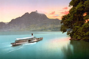Early colour photograph of The Lake of the Four Cantons, evening tints, Lake Lucerne, Switzerland. Dated between 1890 and 1900. (Photo by: Universal History Archive/UIG via Getty images)