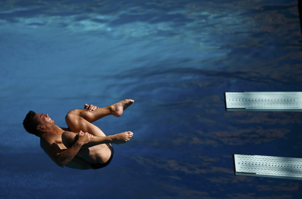 Rio Olympics - Olympic Park - Rio de Janeiro, Brazil - 01/08/2016. A divers practices at the Olympic diving venue. REUTERS/Damir Sagolj FOR EDITORIAL USE ONLY. NOT FOR SALE FOR MARKETING OR ADVERTISING CAMPAIGNS.