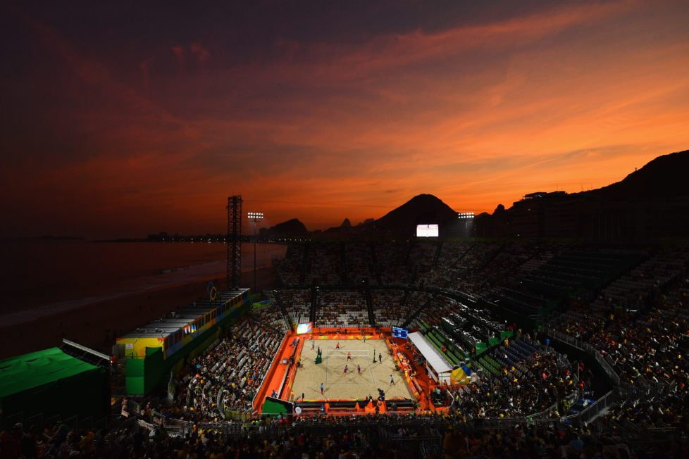 RIO DE JANEIRO, BRAZIL - AUGUST 06: A general view as the sun sets on Day 1 of the Rio 2016 Olympic Games at the Beach Volleyball Arena on August 6, 2016 in Rio de Janeiro, Brazil. (Photo by Quinn Rooney/Getty Images) *** BESTPIX ***