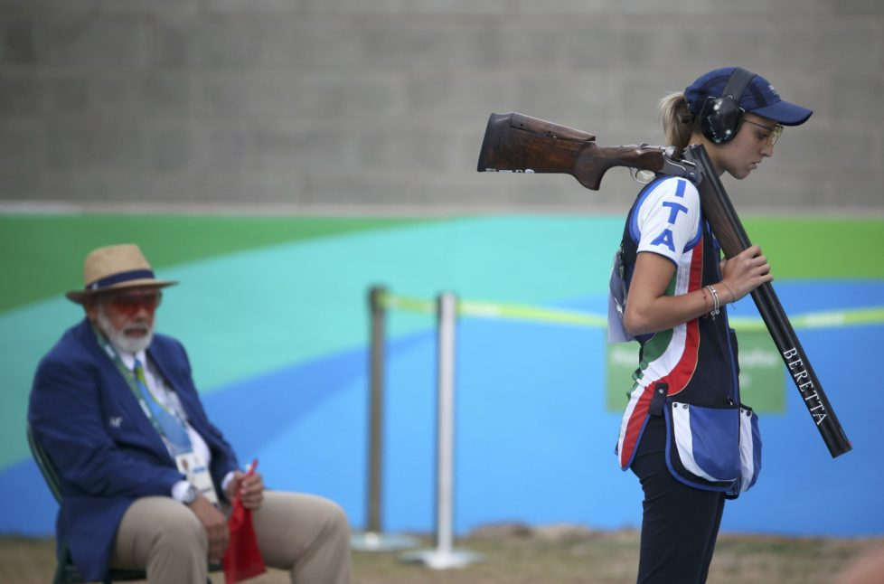 2016 Rio Olympics - Shooting - Final - Women's Trap Finals - Olympic Shooting Centre - Rio de Janeiro, Brazil - 07/08/2016. Jessica Rossi (ITA) of Italy reacts. REUTERS/Edgard Garrido FOR EDITORIAL USE ONLY. NOT FOR SALE FOR MARKETING OR ADVERTISING CAMPAIGNS.
