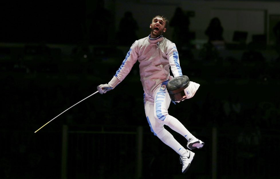 2016 Rio Olympics - Fencing - Final - Men's Foil Individual Gold Medal Bout - Carioca Arena 3 - Rio de Janeiro, Brazil - 07/08/2016. Daniele Garozzo (ITA) of Italy celebrates winning his match. REUTERS/Issei Kato FOR EDITORIAL USE ONLY. NOT FOR SALE FOR MARKETING OR ADVERTISING CAMPAIGNS. TPX IMAGES OF THE DAY
