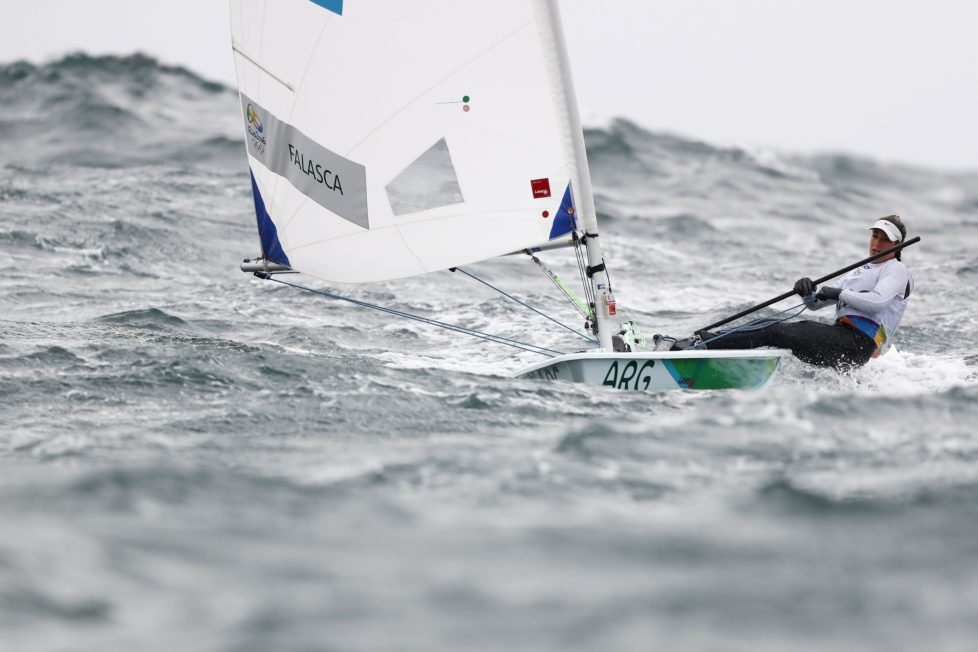 RIO DE JANEIRO, BRAZIL - AUGUST 10: Lucia Falasca of Argentina competes in the Women's Laser Radial class on Day 5 of the Rio 2016 Olympic Games at the Marina da Gloria on August 10, 2016 in Rio de Janeiro, Brazil. (Photo by Clive Mason/Getty Images)