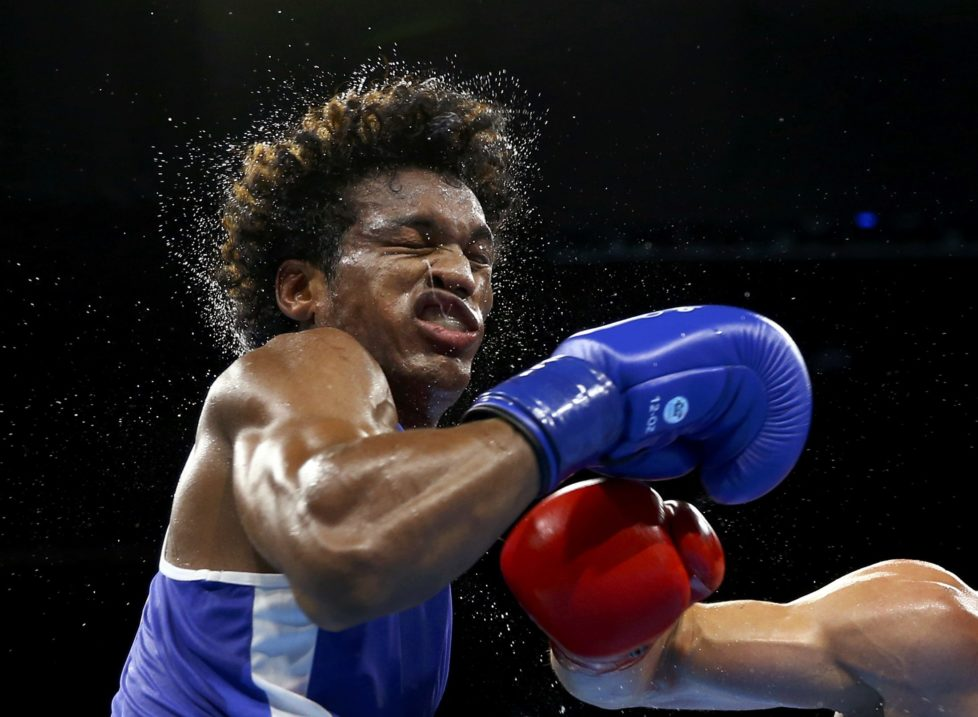 2016 Rio Olympics - Boxing - Quarterfinal - Men's Light Heavy (81kg) Quarterfinals Bout 187 - Riocentro - Pavilion 6 - Rio de Janeiro, Brazil - 14/08/2016. Carlos Andres Mina (ECU) of Ecuador competes. REUTERS/Peter Cziborra TPX IMAGES OF THE DAY FOR EDITORIAL USE ONLY. NOT FOR SALE FOR MARKETING OR ADVERTISING CAMPAIGNS
