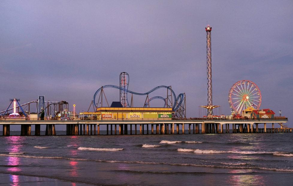 Galveston Texas USA, Der Pleasure Pier am Strand von Galveston. Foto: Moritz Hager
