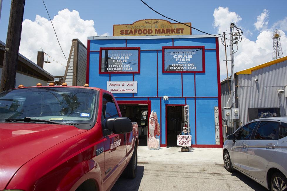 Galveston Texas USA, Ein Seafood Geschaeft am Hafen von Galveston. Foto: Moritz Hager