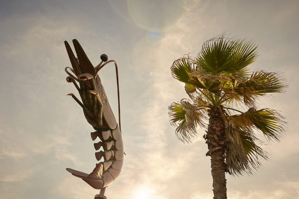 Galveston Texas USA, Ein Shrimp auf einem Dach eines Esslokals am Strand von Galveston. Foto: Moritz Hager