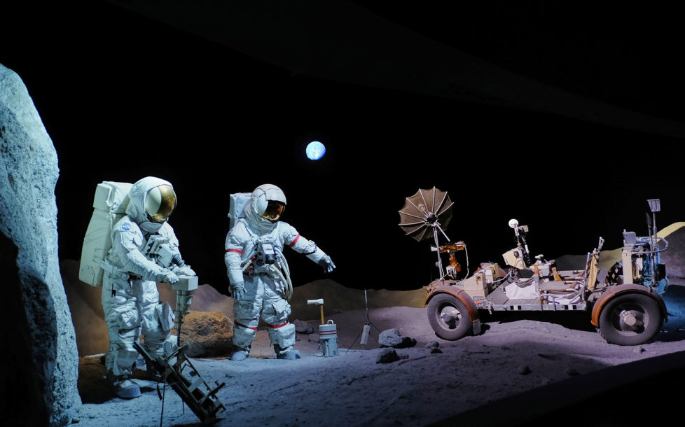 Huston Texas USA, Astronauten waehrend der Mondlandung im Space Center. Foto: Moritz Hager