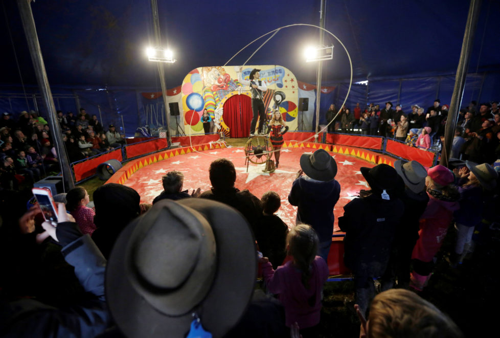 "Brophy Bros travelling circus performer Warren Brophy spins a 70 foot long lasso during a show under the big top at the Deni Ute Muster in Deniliquin, New South Wales, Australia, October 1, 2016. REUTERS/Jason Reed SEARCH ""UTE CULTURE"" FOR THIS STORY. SEARCH ""THE WIDER IMAGE"" FOR ALL STORIES."