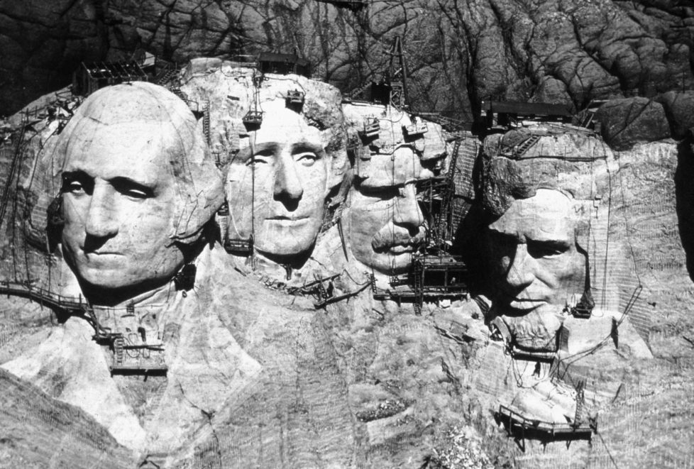 The memorial at Mount Rushmore, South Dakota under construction. The four heads are those of Presidents George Washington (1732 - 1799), Thomas Jefferson (1743 - 1826), Theodore Roosevelt (1858 - 1919) and Abraham Lincoln (1809 - 1865). (Photo by MPI/Getty Images)
