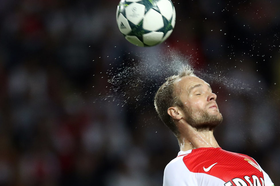 Monaco's French forward Valere Germain heads the ball during the UEFA Champions League football match AS Monaco vs Bayer Leverkusen, on September 27, 2016 in Monaco. / AFP PHOTO / Valery HACHE
