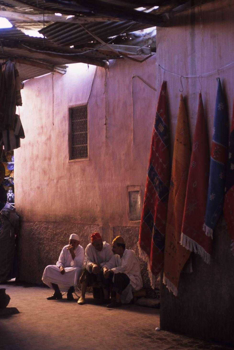 MOROCCO - 2001/01/01: Morocco, Marrakech, Souk Scene, Moroccan Men. (Photo by Wolfgang Kaehler/LightRocket via Getty Images)