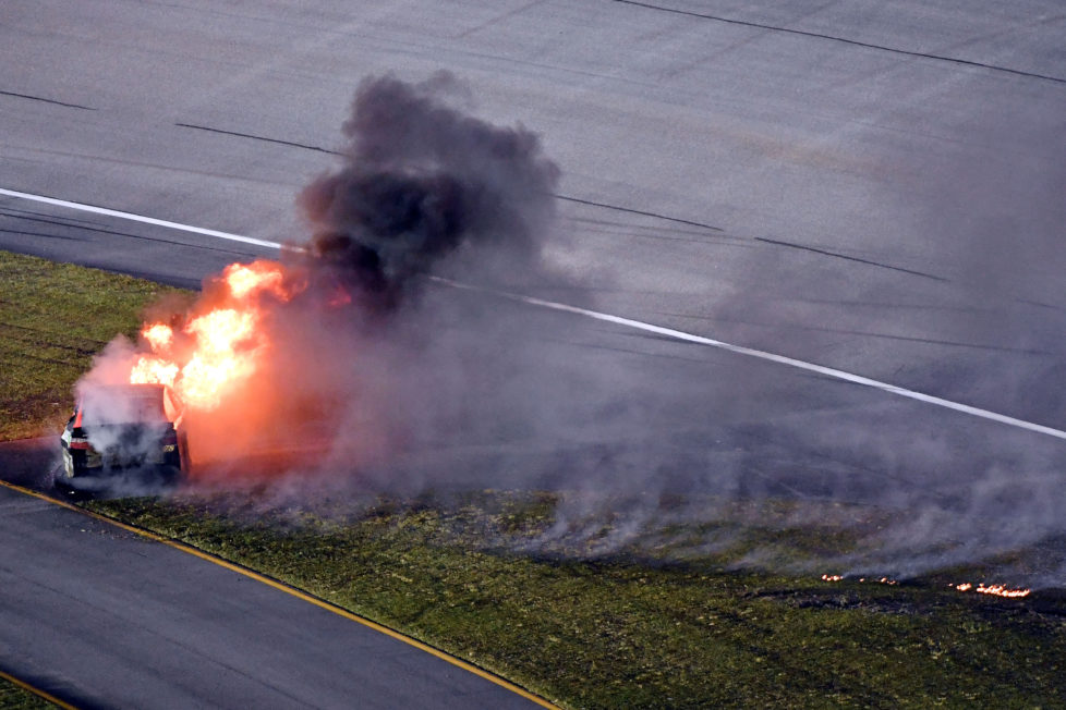 Nov 20, 2016; Homestead, FL, USA; The car of NASCAR Sprint Cup Series driver Martin Truex Jr. (78) catches fire after a wreck during the Ford Ecoboost 400 at Homestead-Miami Speedway. Mandatory Credit: John David Mercer-USA TODAY Sports - RTSSJH4