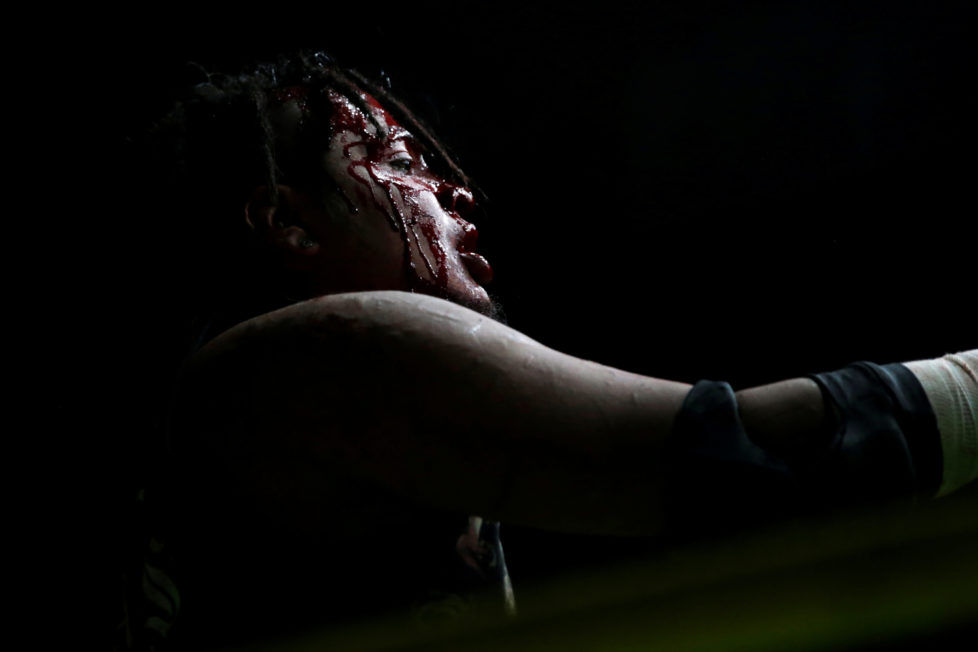 """Wrestler known as Ciclope is seen during an extreme wrestling fight at the Arena Neza on the outskirts of Mexico City, Mexico, October 28, 2016. REUTERS/Carlos Jasso SEARCH """"LUCHA"""" FOR THIS STORY. SEARCH """"WIDER IMAGE"""" FOR ALL STORIES. - RTX2UAHJ"""