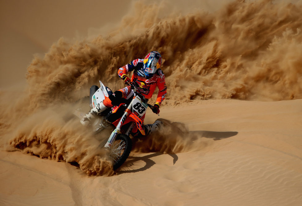 ABU DHABI, UNITED ARAB EMIRATES - NOVEMBER 23: Sam Sunderland Red Bull Motorcycle Rally Rider in action during the Red Bull Racing Sunset Sands on November 23, 2016 in Abu Dhabi, United Arab Emirates. (Photo by Francois Nel/Getty Images)