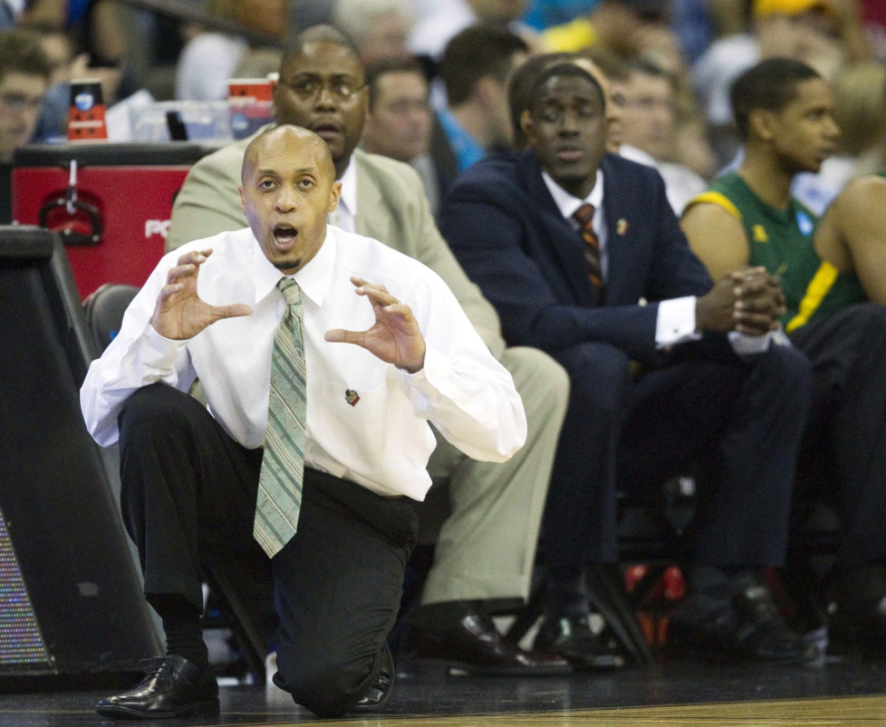 Norfolk State head coach Anthony Evans calls out to his players during the first half against Missouri in a second-round game in the NCAA men's basketball tournament at the CenturyLink Center in Omaha, Nebraska, Friday, March 16, 2012. Norfolk State upset second-seeded Missouri, 86-84. (Shane Keyser/Kansas City Star/MCT via Getty Images)