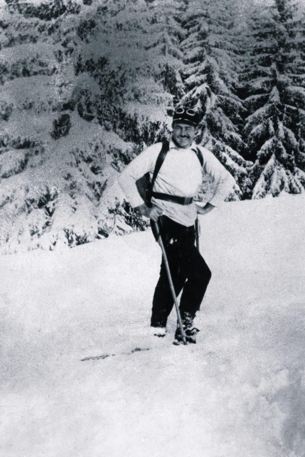 (Original Caption) Ernest Hemingway photography during at Gstaad, Switzerland.