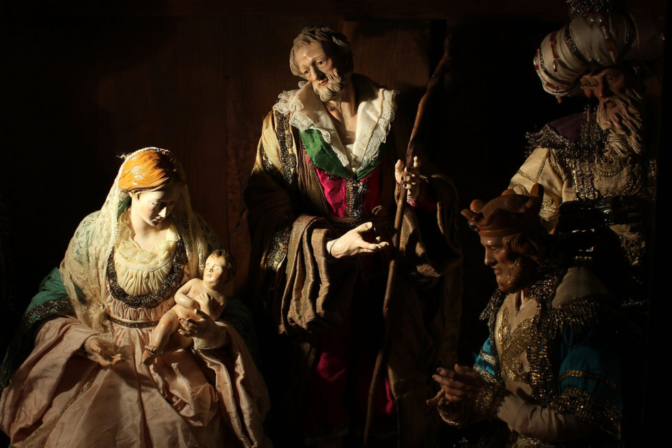 NAPLES, ITALY - DECEMBER 14: Neapolitan Christmas Nativity figurines on display at 'Maestri Ferrigno', which opened in 1836, at Via San Gregorio Armeno on December 14, 2011 in Naples, Italy. Via San Gregorio Armeno, Christmas Alley as it is known, is considered by many to be the world capital of the Nativity and home to the artisans and merchants who specialize in the art and the craft of the Neapolitan Presepe. Over the Christmas period, more than half a million tourists come to see the shops. (Photo by Franco Origlia/Getty Images)