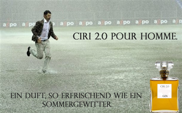Grasshoppers Zurich coach Ciriaco Sforza runs through the pouring rain during the Super League match between Swiss teams BSC Young Boys Bern and Grasshoppers Club Zurich at the Stade de Suisse stadium in Bern, Switzerland, on Sunday, Aug. 2, 2009. (AP Photo/Keystone, Marcel Bier)