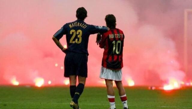 Materazzi und Rui Costa im San Siro (1)