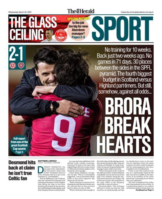 The Herald Titelseite vom Mittwoch, via @brorarangers
